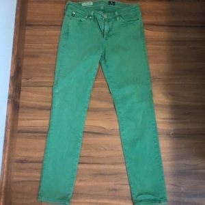 Grass green straight leg jeans